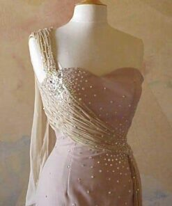 Champagne Colored One Shoulder Pageant dresses