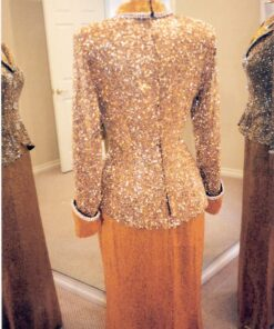 back of liquid beaded evening gowns with Long sleeves