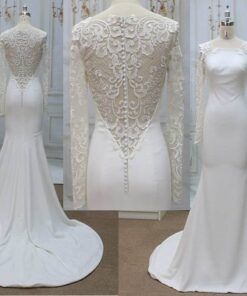 Style #2019-6-11 3 Long Sleeve Bridal Gown with Embroidered Lace Back from Darius Cordell