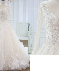 Style YBW315 Long Sleeve Flower Lace Ball Gown Wedding Dress from Darius Cordell
