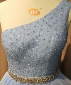 C2020-LDuff2 - Beaded One shoulder formal ball gown