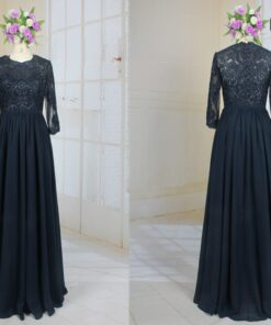LE2003 navy blue grandmother of the bride dress with sleeves from darius cordell