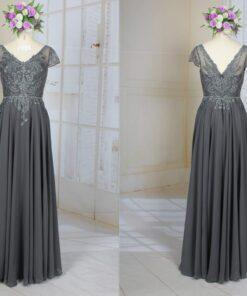 LE2005 short sleeve platinum grey formal evening dress for mother of the bride