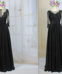 LE2009 black mother of the bride dress with sleeves from Darius Cordell