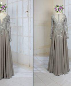 LE2013 long sleeve v-neck formal evening dress for mother of the bride